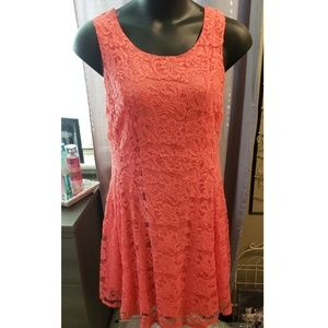 Coral fit and flare lace dress